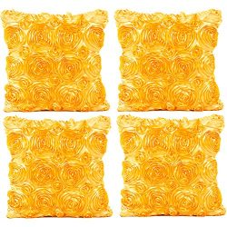 JOTOM Throw Pillow Covers for Sofa Bed Cushion, 3D Solid Color Silks Satins Rose Flower Romantic ...