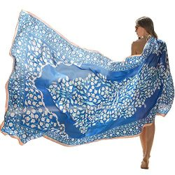 DANA XU 100% Pure Silk Large Size Women Soft Pashmina Shawls and Wraps ¡­ (Blue&White)