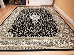 Black 8×11 Persian Rug Oriental Rugs 8×10 Area Rug Traditional Living Room Area Rugs o ...