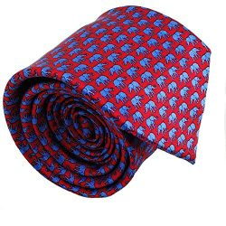 Mens ties silk Necktie men Neck Tie gift boxes luxury Red sky blue elephant by Qobod (ST098)