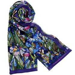 Silk Scarf Scarves for Women 64″ x 18″ Blue Louis C. Tiffany Iris Design