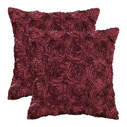 CaliTime Pack of 2 Cushion Covers Throw Pillow Cases Shells for Couch Sofa Home Solid Stereo Ros ...