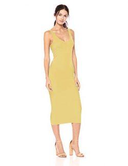 Enza Costa Women's Stretch Silk Rib Tank Midi Dress, Lemongrass, L