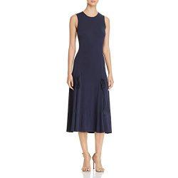 Tory Burch Womens Shannon Drawstring Sleeveless Midi Dress