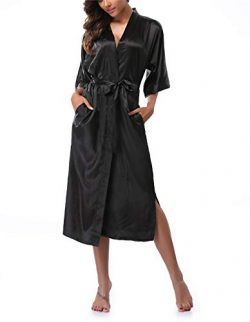 VOGTORY Women's Satin Robes Pure Color Long Kimono Bathrobes Soft Nightgown Black