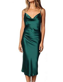 Women Silk Satin Sleeveless Camisole Dress Sexy Satin Dot V Neck Cold Shoulder Backless Slim Che ...