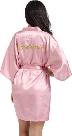 DF-deals Women's Satin Kimono Robe for Bridesmaid and Bride Wedding Party Getting Ready Sh ...