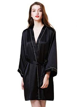 Women's Satin Kimono Robe Silk Pure Color Short Silky Bathrobe Sleepwear Nightgown Pajama  ...