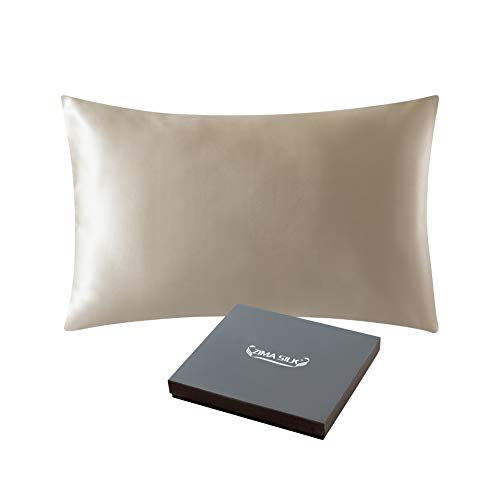 ZIMASILK 25 Momme 100% Mulberry Silk Pillowcase for Hair and Skin,Both Sides Natural Silk,Hidden ...