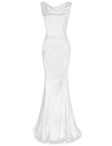 MUXXN Women's 30s Brief Elegant Mermaid Evening Dress (S, White)