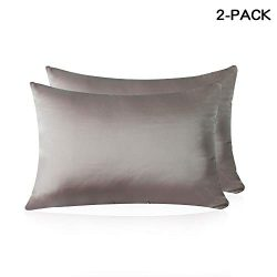 HISEN HOME Silk Pillowcase for Hair and Skin, 100% Mulberry Silk Pillow Cases Both Side 19 Momme ...