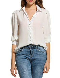 Zeagoo Women Long Sleeve Button Down Chiffon Blouse Shirt Solid Top,White,X-Large