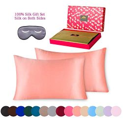 BlueHills Luxury Silk Pillowcase Gift Set – 100% Pure Mulberry Natural Soft Both Sides Sil ...