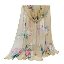 Print Silk Feeling Scarf Fashion Scarves Lightweight Shawl Scarf Sunscreen Shawls for Womens (Ro ...