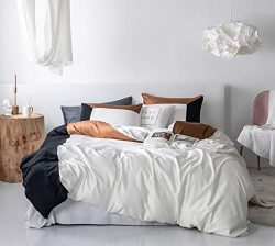 SANMADROLA 3 Piece Duvet Cover Set (1 Duvet Cover + 2 Pillow Shams) Satin Silk Microfiber Beddin ...
