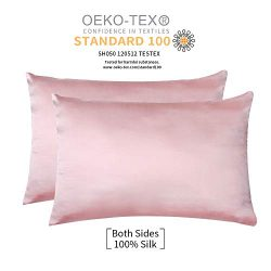 JiangJue 100% Mulberry Silk Pillowcases Satin Set of 2 for Hair and Skin and Super Soft and Brea ...