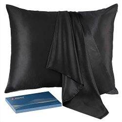 J JIMOO Natural Slip Silk Pillowcase,for Hair and Skin with Hidden Zipper,22 Momme,600 Thread Co ...