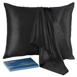 J JIMOO Natural Slip Silk Pillowcase,for Hair and Skin with Hidden Zipper,22 Momme,600 Thread Co ...