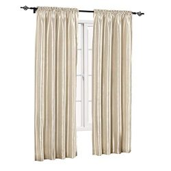 sheetsnthings Soho Faux Silk, 84-Inch Wide x 84-Inch Long, Polyester, Set of 2 Curtain Panels, Ivory