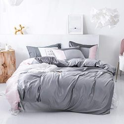 SANMADROLA 3 Piece Duvet Cover Set (1 Duvet Cover + 2 Pillow Shams) Satin Silk Microfiber Beddin ...