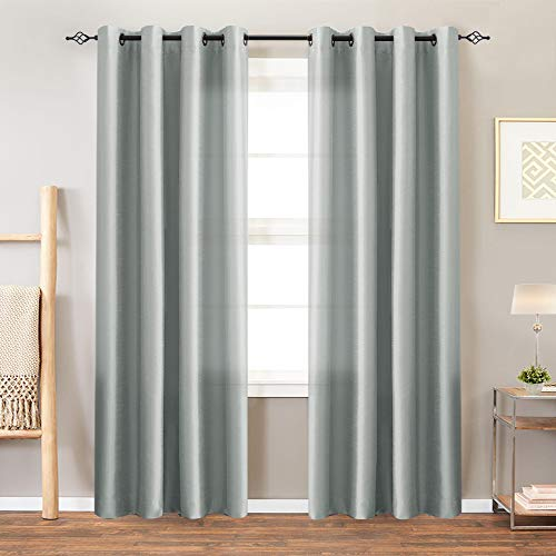 Faux Silk Satin Curtains 95 inch Length for Bedroom Window Curtain Panels Dupioni Light Reducing ...