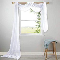 NICETOWN Linen Look Scarf Curtain – Home Decoration Semi Sheer Voile Scarf Valance for Wed ...