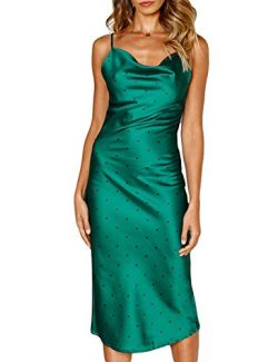 Women Silk Satin Sleeveless Camisole Dress Sexy Satin Dot V Neck Cold Shoulder Backless Slim Che ...