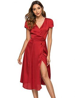 Escalier Women's Floral Wrap Dress Split Short Sleeve V Neck Tie Front Chiffon Summer Part ...