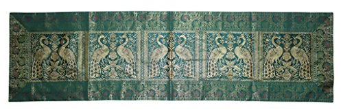 Lalhaveli Rajasthani Hand Art Peacock Work Design Silk Table Runner & Table Cloth 60 x 16 In ...