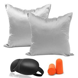 Throw Pillow Cover Euro Shams – 2 Pack Solid Square Faux Silk Throw Pillow Covers Set, Dec ...