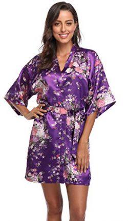 Season Dressing Floral Satin Kimono Robes Short Bridesmaid Robe for Parties Wedding Robes, Purpl ...