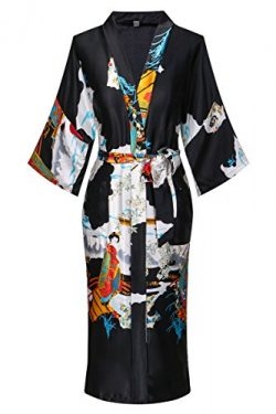 Old-to-new Women's Long Kimono Robe Silk Bathrobe with Pockets-Multi-Pattern,Pagoda Black XL