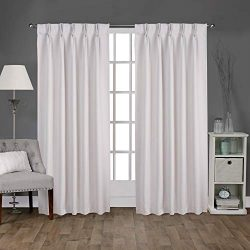 Exclusive Home Curtains Sateen Woven Blackout Window Curtain Panel Pair with Pinch Pleat Top, 96 ...