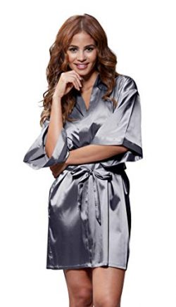 Women's Pure Color Satin Short Kimono Bridesmaids Lingerie Robes (XX-Large, Charcoal)