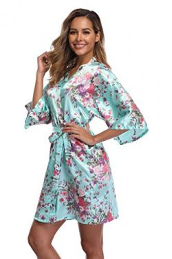 iFigure Women Floral Kimono Robe Satin Bridal Dressing Gown Bride Bridesmaid Robes Sleepwear, Mi ...