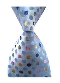 Secdtie Men's Classic Checks Light Blue White Jacquard Woven Silk Tie Necktie (One Size, B ...
