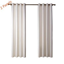 Wellucky Faux-Silk Dupioni Blackout Window Curtain 2 Panel Bedroom Living Room Pure White, Therm ...