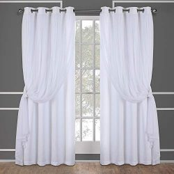 Exclusive Home Curtains Catarina Layered Solid Blackout and Sheer Window Curtain Panel Pair with ...
