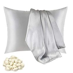JAROLX 100% Mulberry Silk Pillowcase for Hair and Skin,with Hidden Zipper,Both Side 19 Momme Sil ...