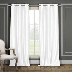 Duck River Textiles Bali Faux Silk Grommet Top Window Curtain 2 Panel Drape, 38″W x 96R ...
