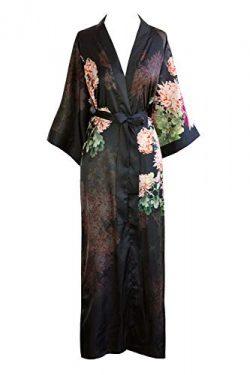 KIM+ONO Women's Kimono Robe Long – Watercolor Floral, Coral Chrysanthemum- Black
