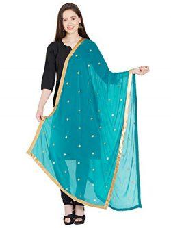 TMS Woman's Embroidered Chiffon Dupatta Scarf Shawl Wrap Soft Indian Bridal Wedding (Teal)