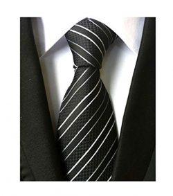 Mens Striped Black and White Striped Tie Extra Long Regular College Silk Necktie
