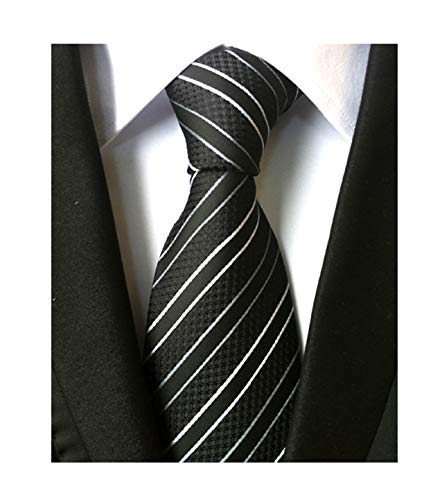 Mens Striped Black and White Striped Tie Extra Long Regular College Silk Necktie