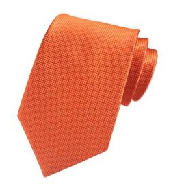 Men's Solid Color Orange Gingham Silk Ties Handmade Micro Plaid 3″ Tie For Groom