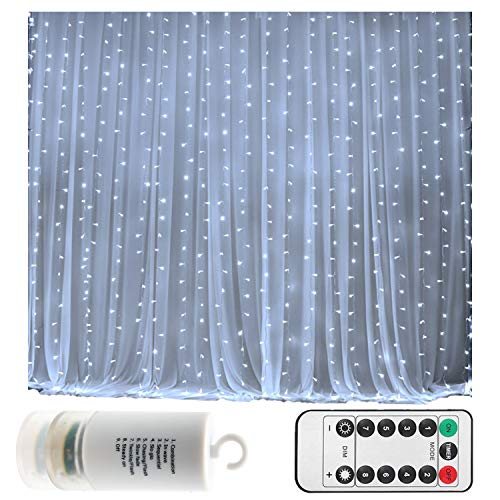 Battery Operated 300 LED Curtain String lights w/ Remote & Timer, Outdoor Curtain Icicle Wal ...