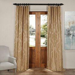 JQCH-20122011-120 Magdelena Faux Silk Jacquard Curtain,Beige & Gold,50 X 120
