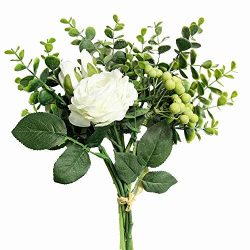 Kirifly Artificial Flowers Silk Roses Fake Plants Eucalyptus Leaves Berries Flower Arrangements  ...