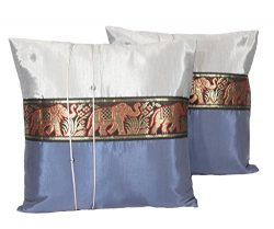 One Pair Big Elephant Stripe Throw Cushion Cover/Pillow Case Thai Silk for Decorative Sofa, Car  ...