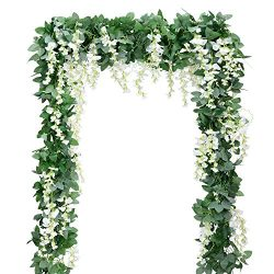 Artificial Flowers Silk Wisteria Vine 5pcs 6.6ft/Piece Ivy Leaves Garland Wisteria Artificial Pl ...